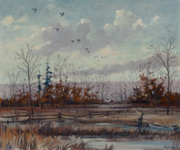 Eric Sloane (American, 1905-1985) Duck Hunting Oil on canvasboard 20 x 24 inches (50.8 x 61.0 cm)