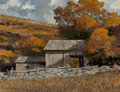 Fine Art - Painting, American, Eric Sloane (American, 1905-1985). Barn in the Valley. Oil on Masonite. 17 x 22-1/2 inches (43.2 x 57.2 cm). Signed lowe...