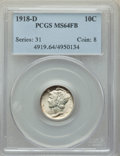 Mercury Dimes, 1918-D 10C MS64 Full Bands PCGS....