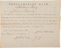 Military & Patriotic:Civil War, Civil War Proclamation Oath Issued to James Edwards. ...