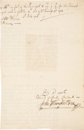 Autographs:Non-American, John Flamsteed Document Signed. Two pages of a bifolium, 7...