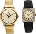 Timepieces:Wristwatch, Longines 18k White Gold Watch, Omega Automatic. ... (Total: 2 Item)