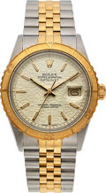 Timepieces:Wristwatch, Rolex, Steel and Gold Oyster Perpetual Datejust, Thunderbird Bezel, Jubilee Dial, Ref. 16253, Circa 1987. ...