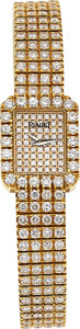 Timepieces:Wristwatch, Piaget, Lady's Tradition Ref. 15241C626, 18k Yellow Gold and Diamond Pave, Circa 1990 . ...
