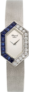Timepieces:Wristwatch, Chopard, Lady's Sapphire and Diamond Hexagon Form, 18k White Gold, Circa 1970's. ...