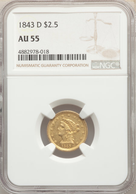1843-D $2 1/2 Small D, MS 55 NGC