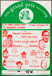 1973 Lutte Grand Prix Wrestling Promotion Poster with Andre the Giant as Giant Jean Ferre