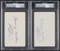 Autographs:Index Cards, Ichiro & George Sisler Dual-Signed Index Card lot of 2, PSA/DNA Authentic....