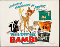 "Movie Posters:Animation, Bambi (Buena Vista, R-1975). Rolled, Fine+. Half Sheet (22"" X 28""). Animation.. ..."