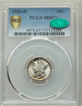 Mercury Dimes: , 1929-D 10C MS67+ PCGS. CAC. PCGS Population: (7/2 and 10/1+). NGC Census: (9/1 and 1/0+). CDN: $400 Whsle. Bid for NGC/PCGS...