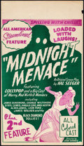 "Movie Posters:Black Films, Midnight Menace (All-American, 1946). Fine/Very Fine. Midget Window Card (8"" X 14""). Black Films.. ..."