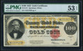 Large Size:Gold Certificates, Fr. 1215 $100 1922 Gold Certificate PMG About Uncirculated 53 EPQ.. ...