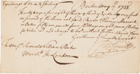 Peter Faneuil Autograph Document Signed Endorsed by Thomas Hancock