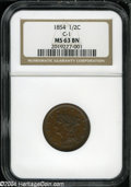 """1854 1/2 C MS63 Brown NGC, C-1. The current Coin Dealer Newsletter (Greysheet) wholesale """"bid"""" price is $255.0..."""