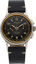 Timepieces:Wristwatch, Lemania, Rare Model 105 Chronograph with Gilt Dial, Stainless Steel, Manual Wind, Circa 1940s. ...