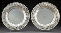 A Pair of S. Kirk & Son, Inc. Silver Landscape Chargers, Boston, post-1924 Marks: S. KIRK & SON INC., ST...