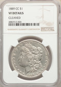 Morgan Dollars, 1889-CC $1 -- Cleaned -- NGC Details. VF. NGC Census: (355/2838). PCGS Population: (589/4990). CDN: $850 Whsle. Bid for pro...