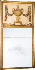 Furniture, A Neoclassical Partial Gilt Carved Wood Trumeau Mirror, early 19th century. 29-7/8 x 15-1/2 inches (76 x 39.5 cm). ...