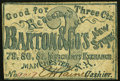 Obsoletes By State:New Hampshire, Manchester, NH- Barton & Co.'s New Store 3¢ ND (ca. 1862-63) Very Good-Fine.. ...