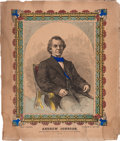 Political:Small Paper (pre-1896), Andrew Johnson: Colorful Print....