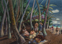 Millard Sheets (American, 1907-1989) Quilt Making, Hawaii Mixed media on paper 29 x 40 inches (73