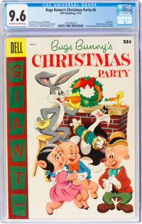 Dell Giant Comics: Bugs Bunny Christmas Party #6 (Dell, 1955) CGC NM+ 9.6 Off-white to white pages