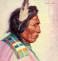Fine Art - Painting, American, Henry C. Balink (American, 1882-1963). Portrait of an Indian. Oil on canvas. 16-1/2 x 15-1/2 inches (41.9 x 39.4 cm). Si...