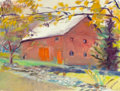 Paintings, Wolf Kahn (American, b. 1927). Barn, Stark Road. Oil on canvas. 30 x 40 inches (76.2 x 101.6 cm). Signed lower center: W...