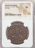 Ancients:Byzantine, Ancients: Justinian I the Great (AD 527-565). AE follis or 40 nummi (35mm, 7h). NGC VF....