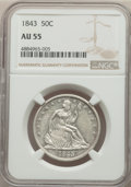 Seated Half Dollars: , 1843 50C AU55 NGC. NGC Census: (30/94). PCGS Population: (60/88). CDN: $325 Whsle. Bid for problem-free NGC/PCGS AU55. Mint...