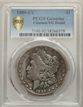 1889-CC $1 -- Cleaning -- PCGS Genuine. VG Details. NGC Census: (314/4240 and 0/16+). PCGS Population: (520/7555 and 0/1...