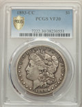 1893-CC $1 VF30 PCGS. PCGS Population: (444/5306 and 0/109+). NGC Census: (234/2554 and 0/39+). CDN: $600 Whsle. Bid for...