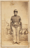 Photography:CDVs, Black Soldier Luther Hubbard Carte de Visite with Additional Tintypes of White Family with Same Surname....