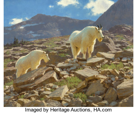 Tucker Smith (American, b. 1940) Glacier Goats, 1991 Oil on canvas 30 x 36 inches (76.2 x 91.4 cm) Signed and dated ...