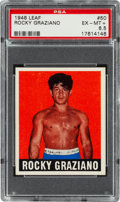 Boxing Cards:General, 1948 Leaf Rocky Graziano #50 PSA EX-MT+ 6.5 - Pop One, None Higher! ...
