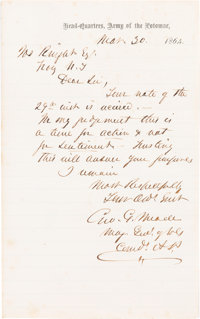 General George G. Meade: Autograph Letter Signed (ALS)