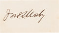 Autographs:Military Figures, Confederate General John S. Mosby: Signed Card.. ...