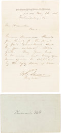 Autographs:Military Figures, General William T. Sherman: Autograph Letter Signed (ALS).. ...