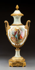 Ceramics & Porcelain, A Large Louis XVI-Style Gilt Bronze Mounted Porcelain Urn, late 19th century. Signed: CH Fuchs. 35 x 14 x 10 inches (88....
