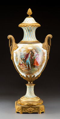 A Large Louis XVI-Style Gilt Bronze Mounted Porcelain Urn, late 19th century Signed: CH Fuchs 35 x 1