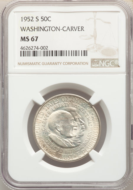 1952-S 50C Washington-Carver, MS 67 NGC