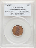 Lincoln Cents: , 1969-S 1C Doubled Die Obverse AU58 BN PCGS. Pop (14/9), CDN Collector Price ($30200.00), CAC (5/5)