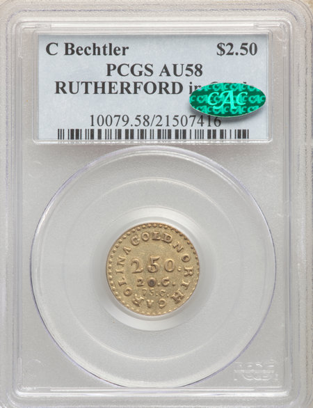1831-34 C. Bechtler Quarter Eagle, Center Circle CAC 58 PCGS