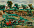 Fine Art - Painting, American, Veronica Helfensteller (American, 1910-1964). The Farm. Oil on canvas. 24 x 30 inches (61.0 x 76.2 cm). Signed lower rig...