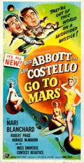 """Movie Posters:Comedy, Abbott and Costello Go to Mars (Universal International, 1953). Folded, Fine/Very Fine. Three Sheet (41"""" X 79"""").. ..."""