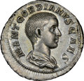 Ancients:Roman Imperial, Ancients: Gordian III, as Caesar (AD 238-244). AR denarius (20mm, 3.41 gm, 11h). NGC AU★ 5/5 - 5/5, Fine Style....