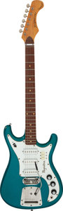 Musical Instruments:Electric Guitars, 1968 Magnatone Typhoon X-20 Teal Sparkle Solid Body Electric Guitar.. ...