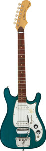 Musical Instruments:Electric Guitars, Circa 1969 Magnatone Zephyr Teal Sparkle Solid Body Electric Guitar, Serial #050610.. ...