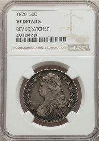 1820 50C Curl Base 2, Small Date -- Reverse Scratched -- NGC Details. VF. NGC Census: (12/196). PCGS Population: (10/234...