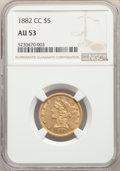 1882-CC $5 AU53 NGC. Variety 1-A. This About Uncirculated piece is sharply detailed, retaining elements of luster in th...